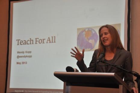 Wendy Kopp speaks at the Joint Membership Meeting.