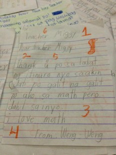 Above is a note that one of Teacher Miggy's students gave him last Friday.