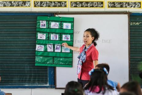 Teacher Kris of Sto. Cristo Elementary School teaches nouns on a Monday morning.