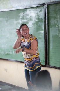 Teacher Steffi engages her students.